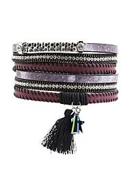 Leather Bracelet Leather Rhinestone Simulated Diamond Alloy Fashion Bohemian Star Red Dark Red Dark Gray Jewelry 1pc