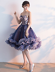 Cocktail Party Dress Ball Gown Sweetheart Knee-length Tulle with Appliques