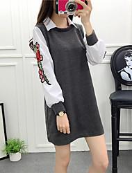 modelli segno # primavera piccola Parigi boutique di moda falsi due serie di manica fiore camicia di maglia lotta vestito