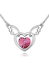 Femme Pendentif de collier Cristal Forme de Coeur Original Pendant Bijoux Pour
