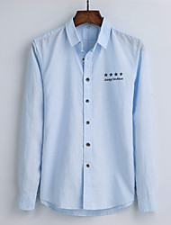 Men's Casual/Daily Simple Shirt,Solid Shirt Collar Long Sleeve Cotton