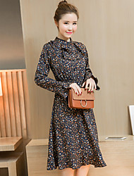 Sign floral long-sleeved dress 2017 spring new Korean temperament was thin fishtail long section bottoming