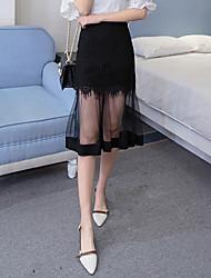 Jupes,Trapèze Couleur Pleine Mosaïque Effets superposés,Taille Normale simple Chic de Rue Midi Décontracté / Quotidien Polyester