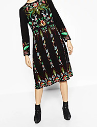 6178 européen et américain big za gauze double broderie floral longue section de printemps féminin nouvelle robe ronde manches longues