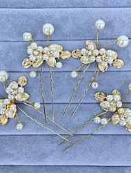 Стразы Сплав металлов Искусственный жемчуг Заставка-Свадьба Особые случаи Цветы Придерживайтесь волос 4 предмета