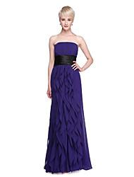 2017 Lanting Bride® Floor-length Chiffon Open Back Elegant Bridesmaid Dress - Sheath / Column Strapless withSash / Ribbon Ruffles Bow(s)