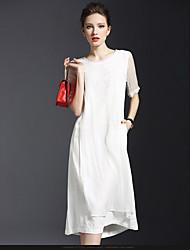 2016 новых весенних женщин&# 39; s fashion vintage silk с короткими рукавами, белье сшивание печати платье