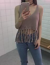 Signer la mode simple coréenne sauvage creux tricoter petit gland court camisole de paragraphe femme