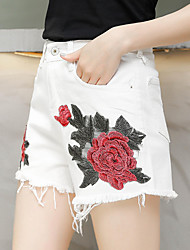 Spot real shot was thin waist denim shorts embroidered white woman