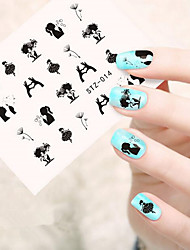 10pcs/set Hot Sale Romantic Nail Art Water Transfer Decals Beautiful Dancing Girl Dandelion Lovely Design Nail DIY Beautiful Decals STZ-014