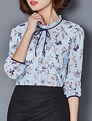 Women's Going out Work Simple Sophisticated Blouse,Print Stand Long Sleeve Rayon Polyester