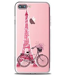 Назначение iPhone X iPhone 8 iPhone 8 Plus Чехлы панели Прозрачный С узором Задняя крышка Кейс для Эйфелева башня Мягкий Термопластик для
