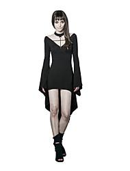 Gaine Robe Femme Sortie Soirée / Cocktail Soirée Sexy Vintage Punk & Gothique,Couleur Pleine Col en V Au dessus du genou Manches Longues