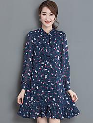 2017 spring new bow collar fishtail pendulum floral print chiffon long-sleeved dress women