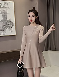 Women's Going out Casual/Daily A Line Sweater Dress,Solid Round Neck Above Knee Long Sleeve Rayon Spandex Spring Fall Mid Rise
