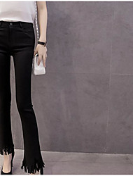 Spring new diamond pattern fringed tassel hole was thin stretch pants female Bigfoot flared trousers pantyhose