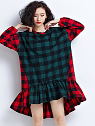 Sign the Spring and Autumn long-sleeved shirt dress long section of the autumn and winter Korean waist plaid skirt