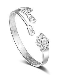 Femme Manchettes Bracelets Plaqué argent Fait à la main Forme de Fleur Argent Bijoux 1pc