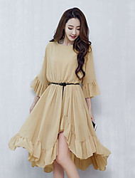 Sign summer chiffon skirts in dress trumpet sleeve loose irregular big swing Pleated Dress