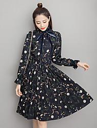 signe 2017 ressort élégant ruban rétro tempérament gradient robe plissée