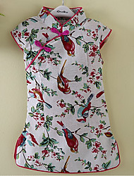 Girl's Casual/Daily Floral Print Dress,Linen Summer Short Sleeve