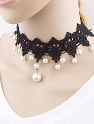 Women's Choker Necklaces Imitation Pearl Pearl Imitation Pearl Lace Unique Design Fashion Black JewelryWedding Party Special Occasion