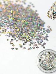 1 Bottle Fashion Rectangle Laser Glitter Stripe Paillette Decoration Nail DIY Beauty Decoration Nail Glitter Paillette Shiny Thin Slice TW17
