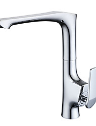 Art Deco/Retro Standard Spout Centerset Widespread with  Ceramic Valve Single Handle One Hole for  Chrome , Kitchen faucet