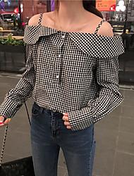 Feminino Camiseta Tamanhos Grandes SensualSólido Seda Decote V Sem Manga