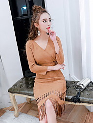 Sign 2016 new winter dress Girls long section of hollow fringed suede belt Slim tide