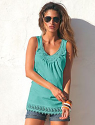 Tee-shirt Femme,Jacquard Sortie Plage Vacances Sexy Mignon Printemps Sans Manches Col en U Polyester Opaque