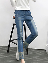 Sign fertilizer to increase code female high elastic waist jeans Slim feet long pants fat mm200 pounds