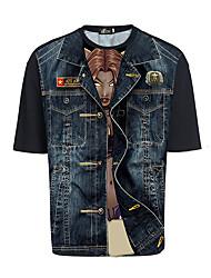 2017 Sommer neue Männer&# 39; s Schädel Dämon 3d gedruckt T-Shirt kurz-sleeved Denim-Shirt gefälscht