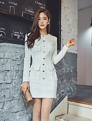 2016 autumn and winter new Korean round neck OL career high temperament single-breasted woman was thin package hip dress