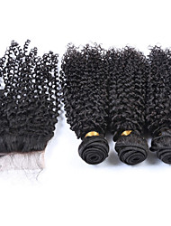 Vinsteen 3 Bundles with Lace Closure Brazilian Kinky Curly Virgin Hair Weave 8-30 Unprocessed Hair Weft Extensions Natural Color