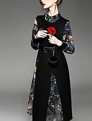 Trapèze Robe Femme Sortie simple,Galaxie Col Arrondi Asymétrique Manches Longues Coton Rayonne Polyester Printemps Automne Taille Basse