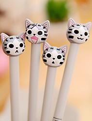 12 PCS Cartoon Cat Gel Pen Pen Gel Pens PenPlastic Silicone Barrel Black Ink Colors For School Supplies Office Supplies