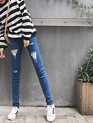 2016 new Korean leisure wild feet harem pants female summer was thin pantyhose hole jeans pencil pants