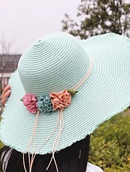 Girl's Lovely Fashionable Elegant Pearl Flower Doll Big Beach Hat In A Straw Hat
