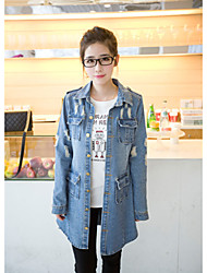 Stock Korean loose big yards long denim jacket windbreaker four pockets