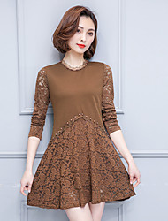 Sign 2017 spring new Korean lace stitching beaded dress loose big yards A word skirt