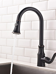 Antique Art Deco/Retro Tall/High Arc Pull-out/Pull-down Standard Spout Centerset Thermostatic Rain Shower Pullout Kitchen Faucet