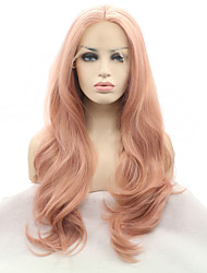 2017 Sylvia Synthetic Lace Front Wigs Rose Pink Natural Wave Heat Resistant Synthetic Wig