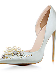 Золотой Черный Серебряный-Для женщин-Свадьба Для праздника Для вечеринки / ужина-Сатин Материал на заказ клиента-На шпильке-клуб Обувь-