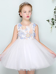 Ball Gown Short / Mini Flower Girl Dress - Cotton Satin Tulle Jewel with Appliques Embroidery Flower(s)