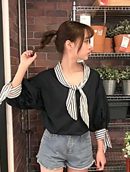 Really making 2017 Women sweet Japanese soft sister spring new spell color 7 points sleeve striped pullover doll