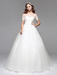 Trapèze Illusion Neckline Longueur Sol Dentelle Tulle Robe de mariée avec Dentelle par LAN TING BRIDE®