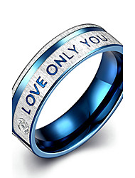 Concise Blue Color Titanium Steel Love only you Letter Band Wedding Ring Jewellery for Women Accessiories