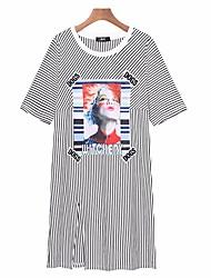Damen Gestreift Einfach Ausgehen T-shirt,Rundhalsausschnitt Kurzarm Baumwolle