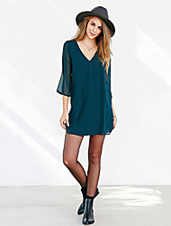 Women's Going out Simple Tunic Dress,Solid Deep V Above Knee Long Sleeve Cotton Summer Fall Low Rise Inelastic Thin